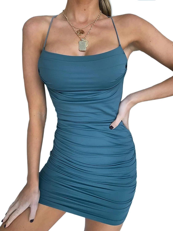 Dresses Dress Club Spaghetti Party Newly Women Strap Wear Bodycon Mini