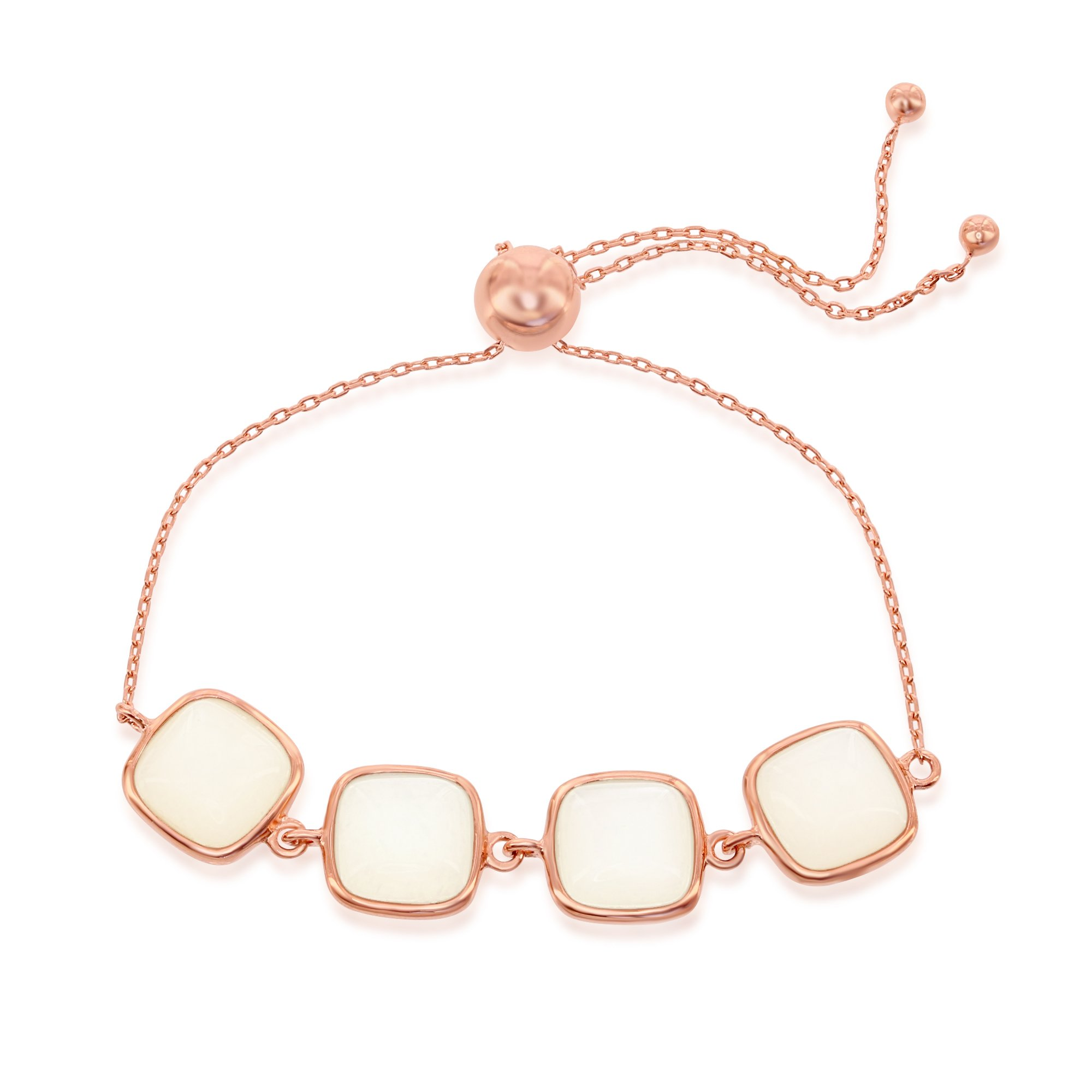 Sterling Silver Italian High Polish Rose Tone Natural White Moonstone Adjustable Bolo Bracelet