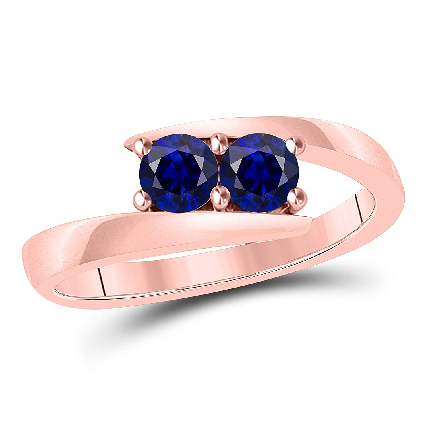 Gems and Jewels Created Blue Sapphire Solitaire Tension Forever US Two Stone Ring 14k Solid Rose Gold Finish 0.50ct Alloy