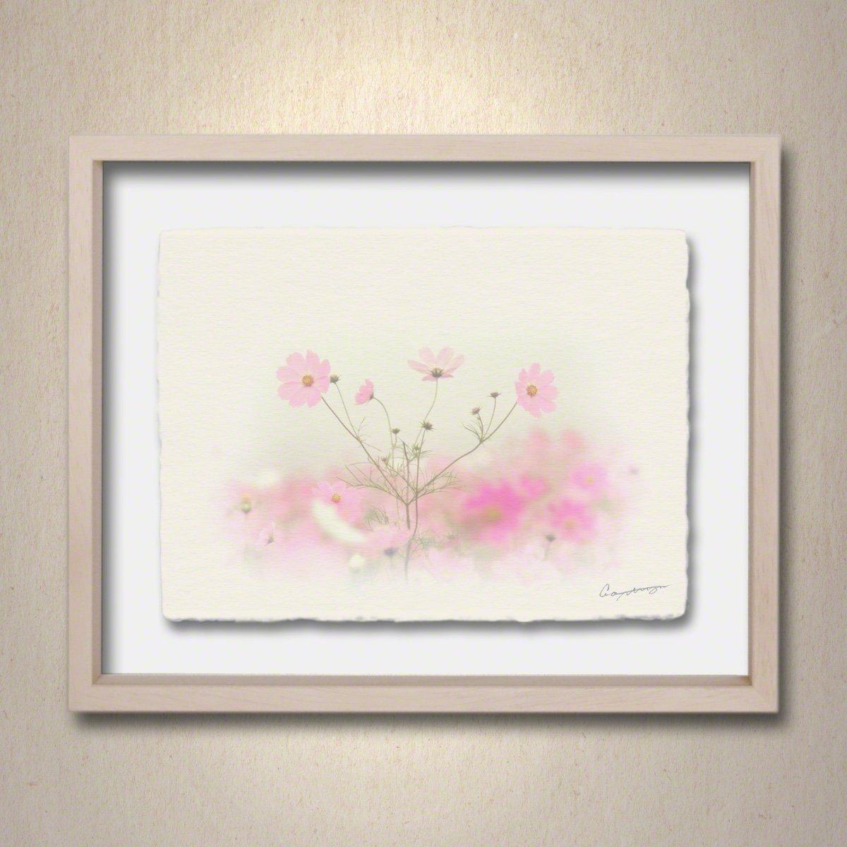 和紙 アートフレーム 「霧空のピンクのコスモス」 (64x52cm) 花 絵 絵画 壁掛け 壁飾り 額縁 インテリア アート B076LQMYLY 25.アートフレーム(長辺64cm) 120000円|霧空のピンクのコスモス 霧空のピンクのコスモス 25.アートフレーム(長辺64cm) 120000円