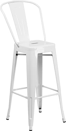 Flash Furniture Commercial Grade 30″ High White Metal Indoor-Outdoor Barstool