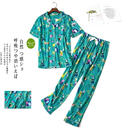 HIUGHJ Pijamas Lindo Pijama de algodón 100% de Dibujos Animados para Mujeres Pantalones de Manga Corta Tallas Grandes de algodón de Punto Simple Homewear Pijamas para Mujeres: Amazon.es: Hogar