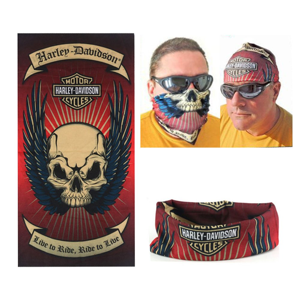 DODO® -Harley Davidson Biker Fahrer Multi Schal Balaclava Tube Snood Maske Nackenwä rmer Bandana Dodo Living Art HD-034