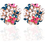 Ownsig Lady Charming Bloomy Clover Flowers Rhinestone Ear Stud Earrings Ornaments 2pcs Full Color