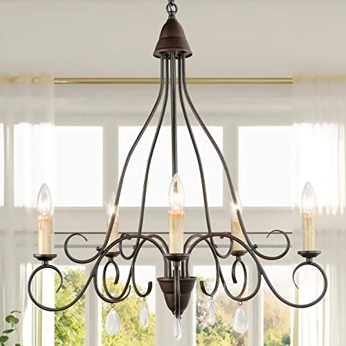 KSANA Farmhouse Chandelier,Candle Chandelier for Dining Rooms,5 Lights Rustic Chandelier with Crystal Pendant in Rust Finished
