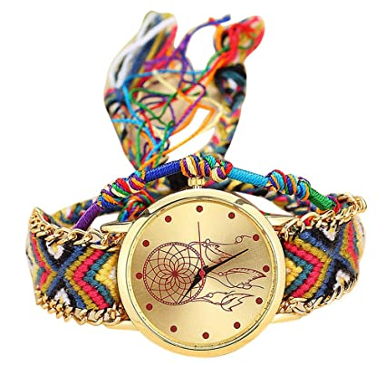 WM & MW Women Girls Vintage Handmade Woven Bohemia Band Quartz Watch Dream Catcher Friendship Watches