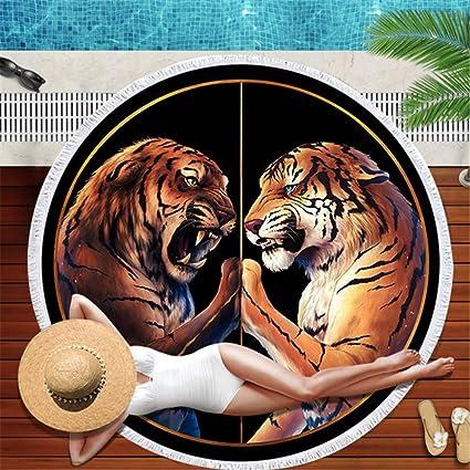 LYJZH Toalla de Playa Redonda - Tigre Animal Playa cojín ...