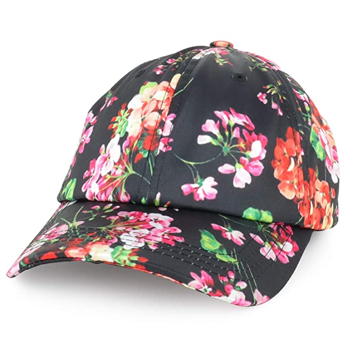 bb85f8db40ad92 Trendy Apparel Shop Women's Floral Print Satin Unstructured Low Profile  Baseball Cap - Black