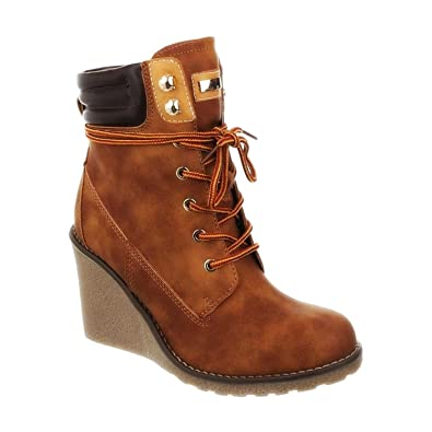 check out c589b 3b146 King Of Shoes Bequeme Damen Stiefeletten Keilabsatz Wedges Ankle Boots  Kurzschaft Schnürstiefel 173