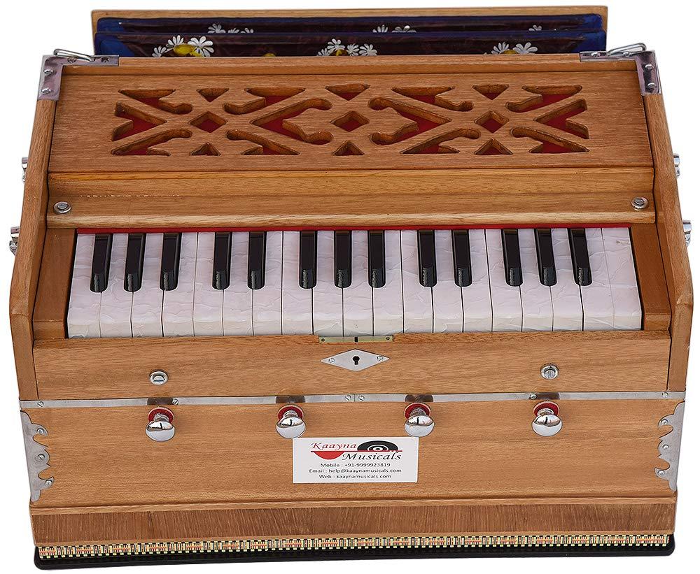 Harmonium Mini Magic By Kaayna Musicals, 4 Stop- 2 Main & 2 Drone, 2¾ Octave, Teak Colour, Gig Bag, Bass/Male- 440 Hz, Best for Yoga, Bhajan, Kirtan, Shruti, Mantra, Meditation, Chant, etc. by Kaayna Musicals