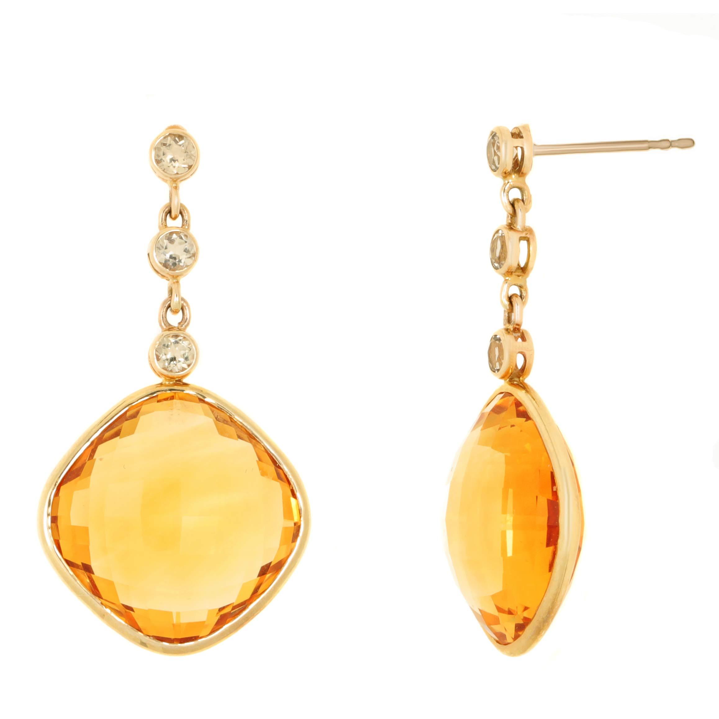 Lavari - 14MM Cushion Shaped Citrine 2.5MM White Topaz 14K Yellow Gold Dangling Earrings