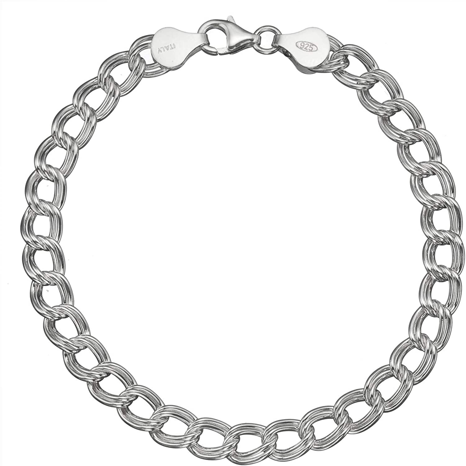 """Solid 925 Sterling Silver 7mm Italian Double Link Chain Bracelet for Charms 7""""- 9"""""""