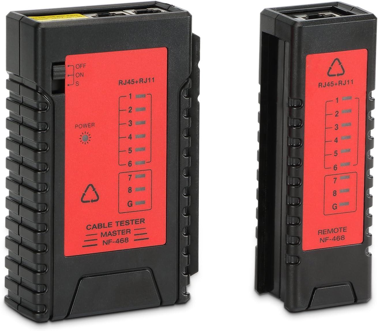 Incutex testeur Ligne c/âble Patch testeur c/âble RJ45 RJ11 d/étecteur localisateur c/âble wire Tracker Rouge-Noir