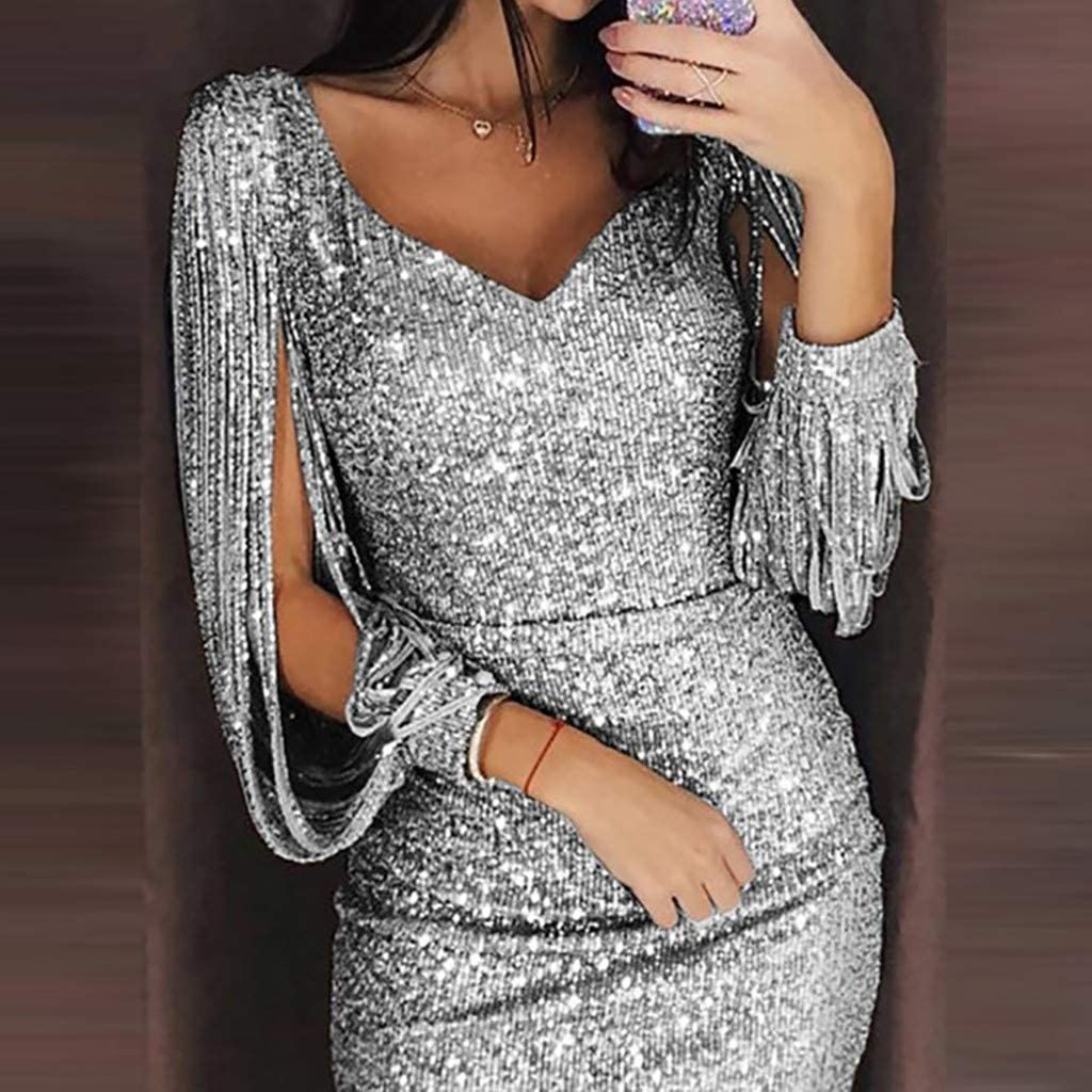 Womens Mini Bodycon Cocktail Dress Ladies Elegant Shiny Sequined Pencil Dresses Hollow Long Sleeve Evening Gown