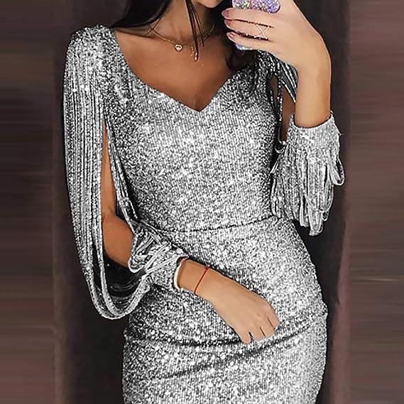 LMMET Vestiti Donna Elegante Cerimonia Aderente Mini Vestiti Eleganti  Estate da Sera Donna Aderenti Vestito Corto Donna Scollo v Sexy Abiti Corti  Mini ... 180e7306df6