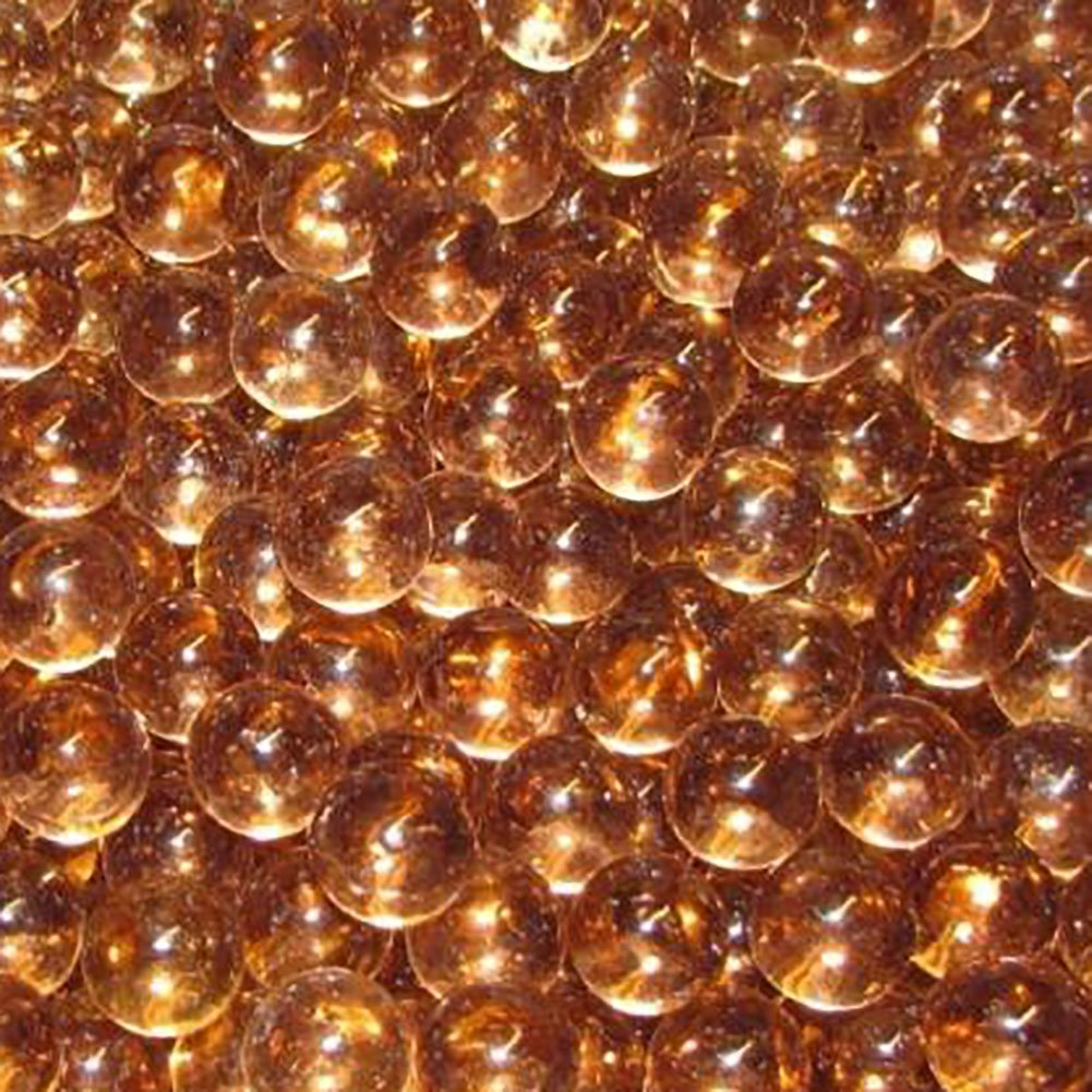 """Unique & Custom {9/16'' Inch} Set of Approx 50 Small """"Round"""" Clear Marbles Made of Glass for Filling Vases, Games & Decor w/ Elegant Copper Amber Tone Shiny Smooth Design [Light Orange Color]"""