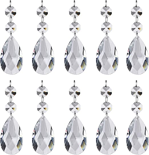 20 pcs 38mm Tear drop Faceted Glass Crystal Loose Beads Decorative Pendant