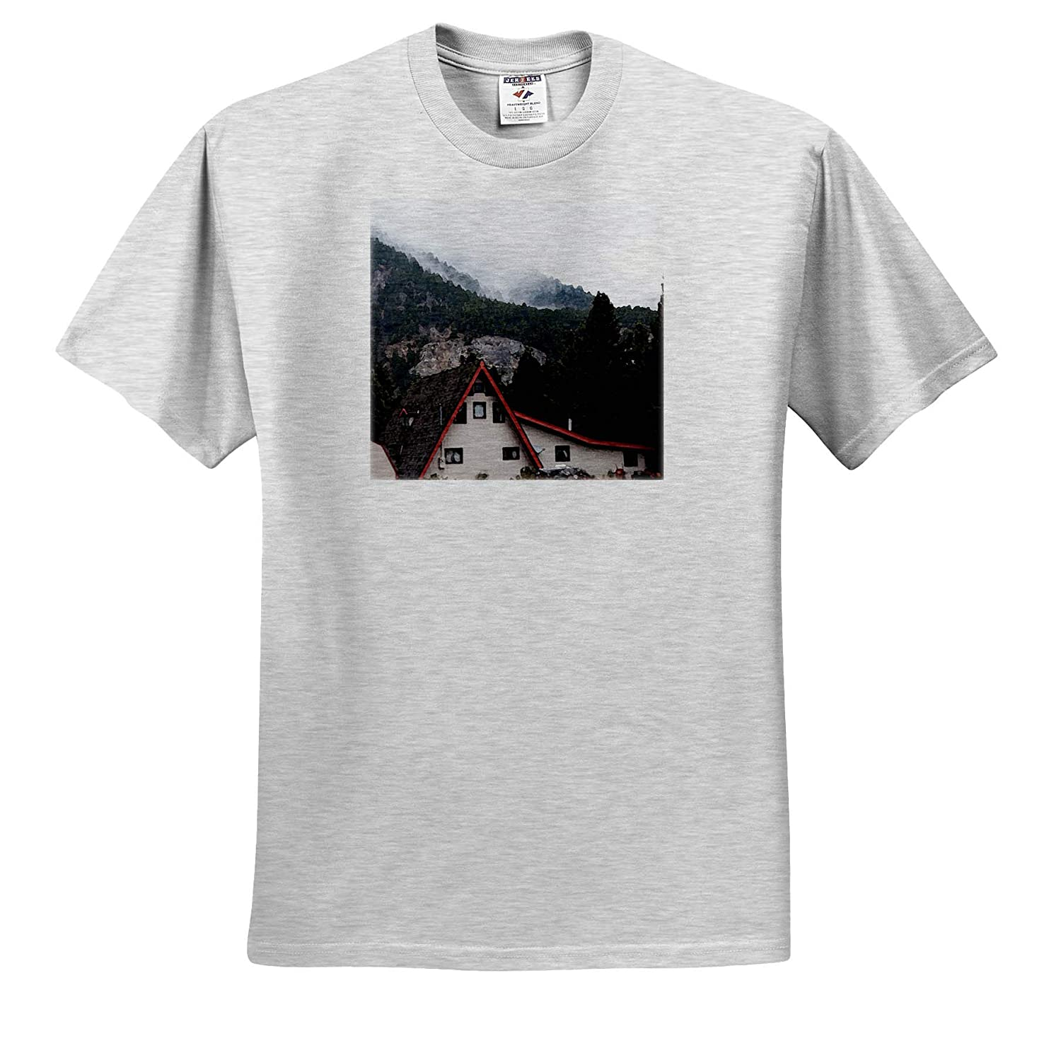 ts/_320071 3dRose Jos Fauxtographee- Cabin A Cabin Lined in red in Wyoming on a Misty Day by Mountains Adult T-Shirt XL