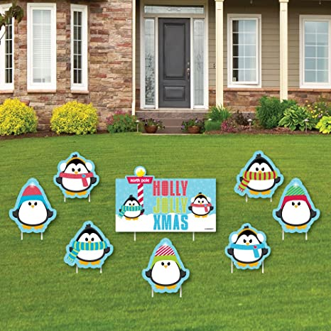 big dot of happiness holly jolly penguin yard sign outdoor lawn decorations holiday - Christmas Lawn Decorations Amazon