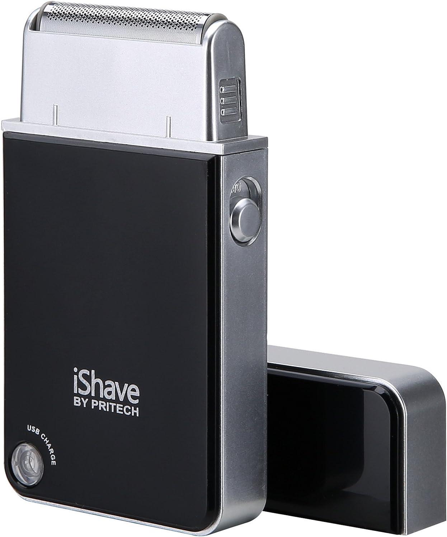 PRITECH Superficie del espejo profesional recargable USB de maquinillas de afeitar para hombres iShave RSM-1880 negro