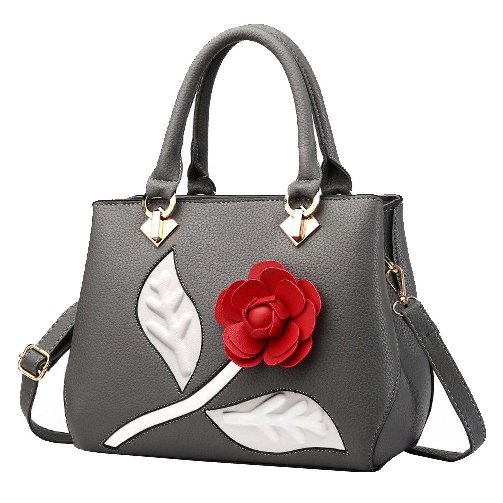 Tibes Fashion PU Leather Handbag Women Party Tote Wedding Purse for Women Deep Gray