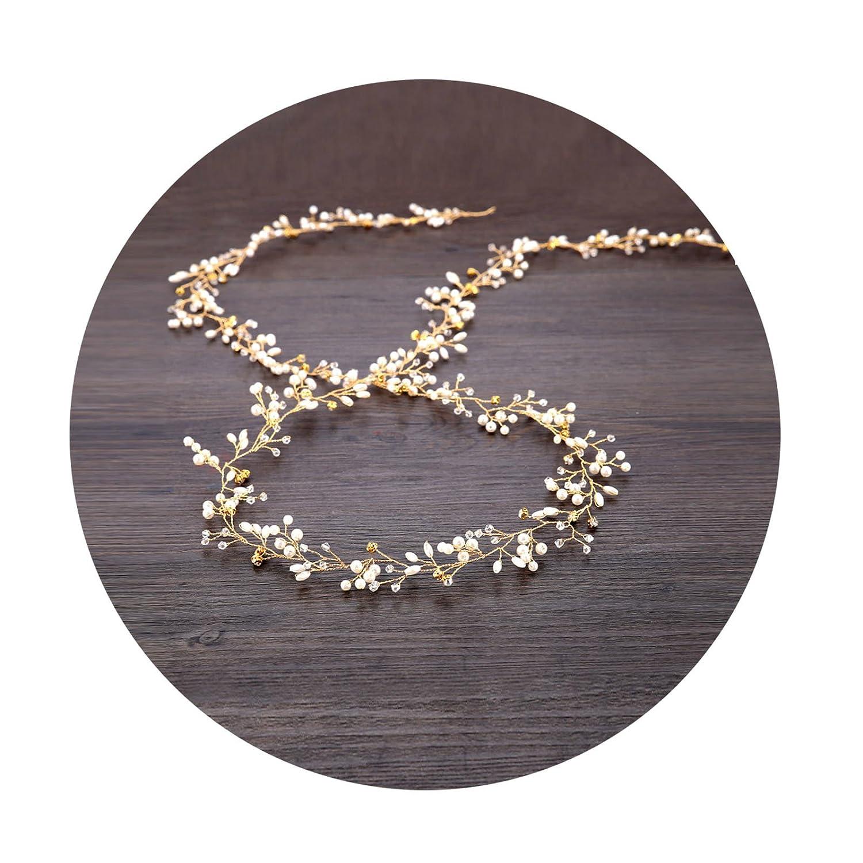 AmDxD Gold Plated Bridal Wedding Headbands,Womens Rhinestone CZ Hair Vine Flower Headpiece 105CM TSWDWTQQ046