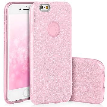 QULT Carcasa para Móvil Compatible con iPhone 6, iPhone 6S Funda Silicona Rosa Brillante Dura Bumper Teléfono Brillar Purpurina Caso para iPhone 6, 6S ...