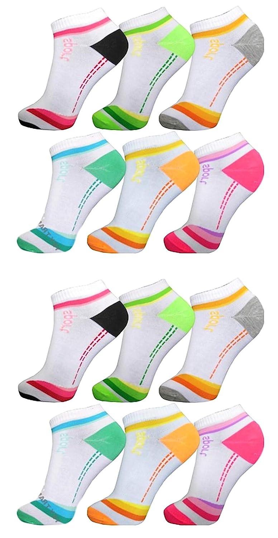AlbTrade Damen Sneaker Socken Baumwolle Wei/ß Bunt
