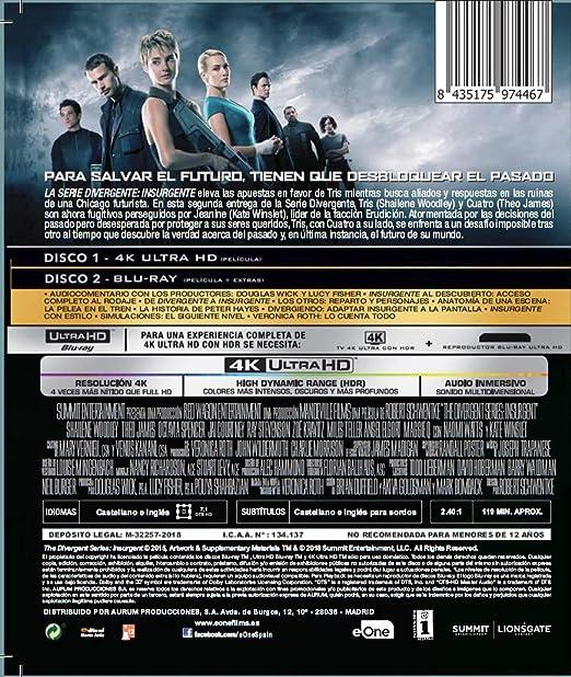 La Serie Divergente: Insurgente Blu-Ray + Uhd 4k Blu-ray: Amazon.es: Shailene Woodley, Theo James, Robert Schwentke, Shailene Woodley, Theo James: Cine y Series TV