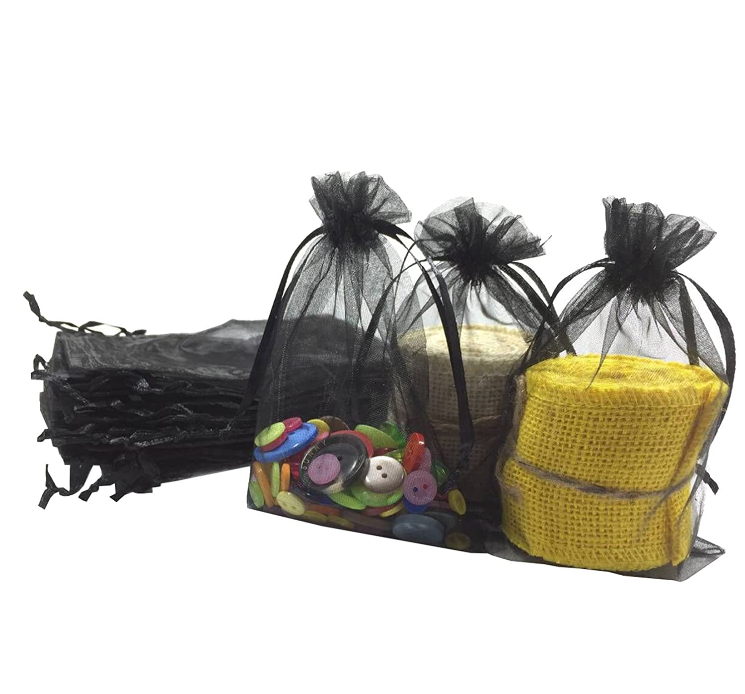 Wholesale 100 Pcs 3 7 X5 9 Black Organza Bags Wedding Favor Pouches Packing Bags Party Gift Bags Candy Bag Jewelry Pouch Drawstring Bags