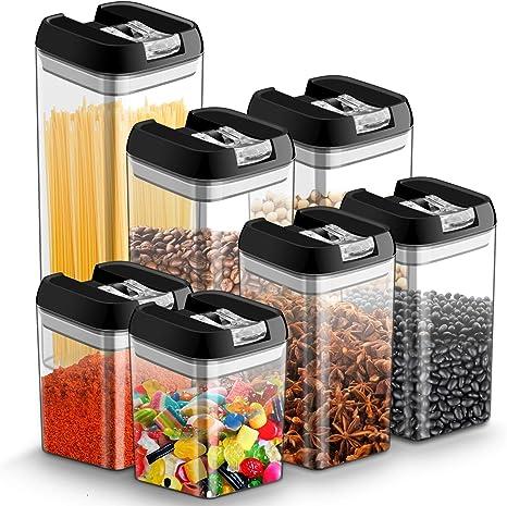 7pcs Botes Hermeticos Cocina Plastico Tarro almacenaje Alimentos con Tapa Recipiente Caja de Almacenamiento Alimentos Apilables, Sin BPA,Botes Almacenaje para Espagueti/Pasta/Frijoles/Especias: Amazon.es: Hogar