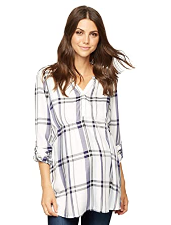 d3ea32c0f4ad4 A Pea in the Pod Luxe Essentials Denim Plaid Convertible Maternity Shirt at  Amazon Women's Clothing store: