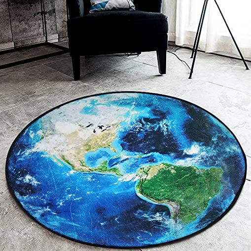 SYROVIA Blue Moon Round Area Rug 5 9 in Diameter Bedroom Carpet Shaggy Soft Chair Mat Washable Non-Slip Doormat