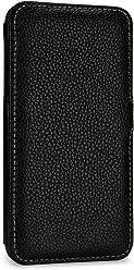 StilGut Book Type Case, custodia a libro booklet custodia orizzontale, cover apertura laterale in vera pelle per Apple iPhone XS, Nero con Clip