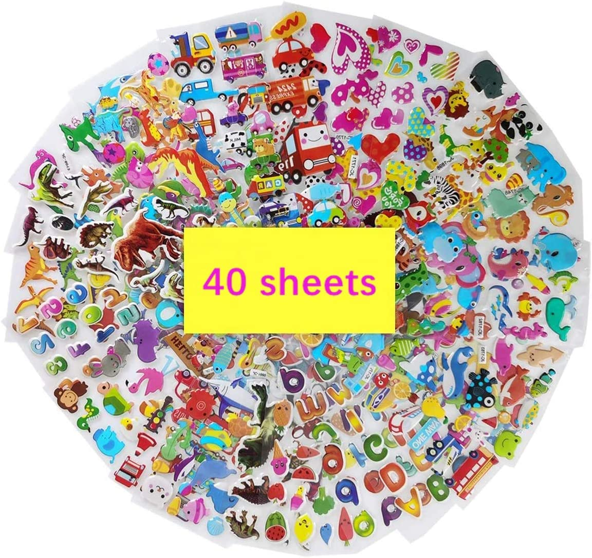 3D Puffy Stickers, Variety 40 Sheets Kids Bulk Stickers 1000+ Fun Stickers for Kids Toddlers Including Dinosaurs, Cars, Trucks, Airplane, Food, Letters, Flowers, Numbers, Fruit, Hearts and More