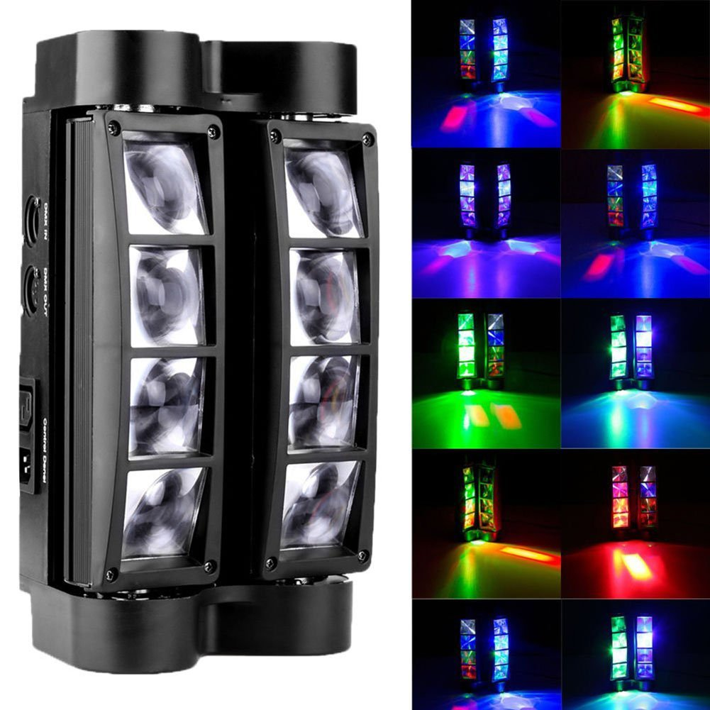 Eight Eyes Spider Stage Light, Moving Head Color Auto Master slave LED Sound Control Background Beam Effect Lighting Mini 810W RGBW Laser Stage Light For DJ Disco, KTV, Par, Club, Party, Show, Lifego