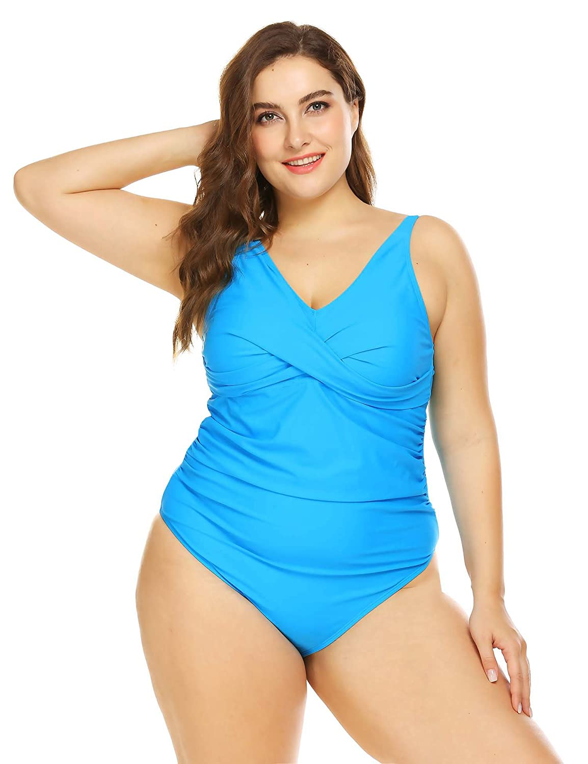 cb4aeff2a4c IN'VOLAND Womens Plus Size Swimwear One Piece Swimsuits Tummy Control V  Neck Bathing Suits Monokini at Amazon Women's Clothing store: