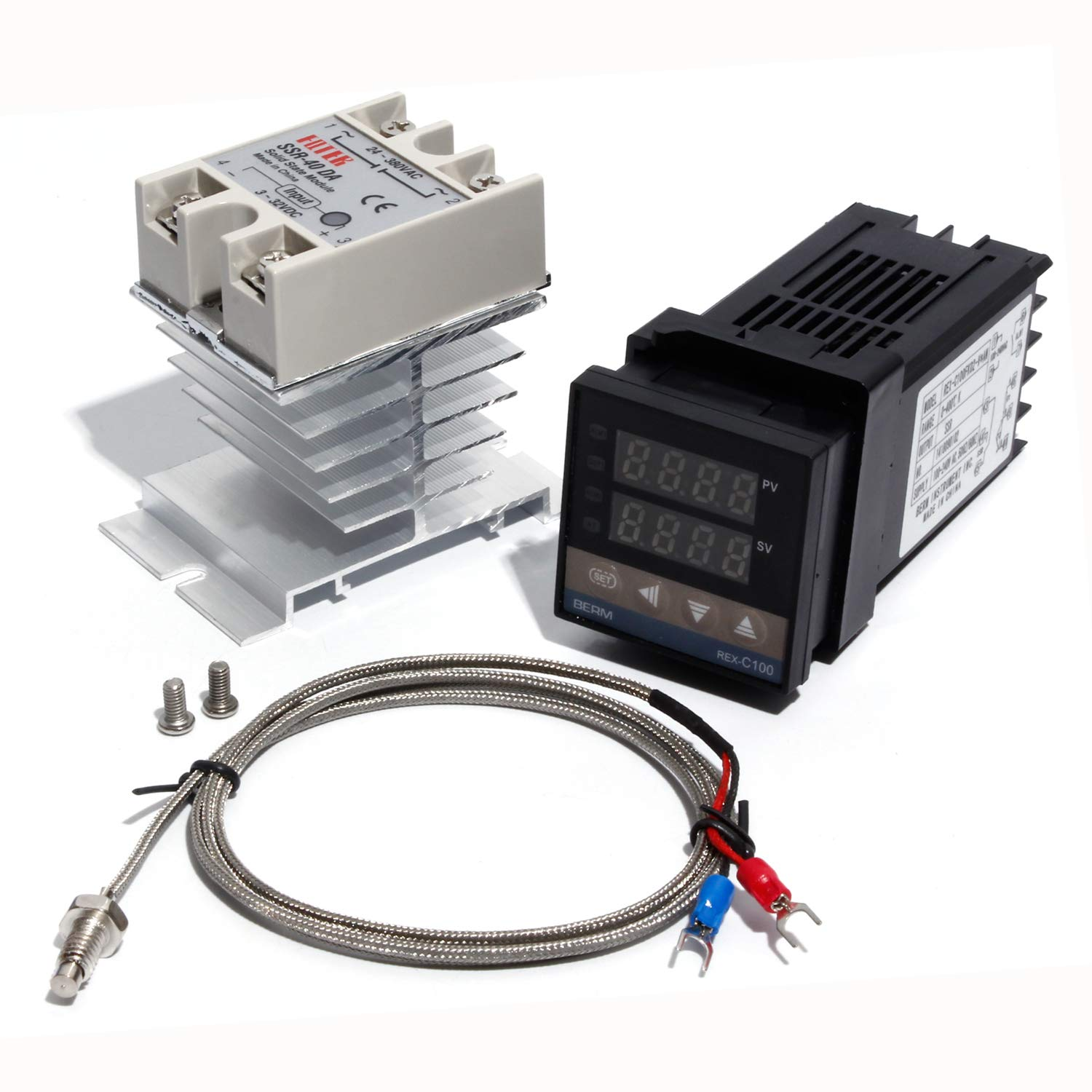 PID Temperature Controller Kit Controller with 40DA SSR Sold State Relay with Heater Sink with Type K 1m M6 Thread Thermocouple Wire
