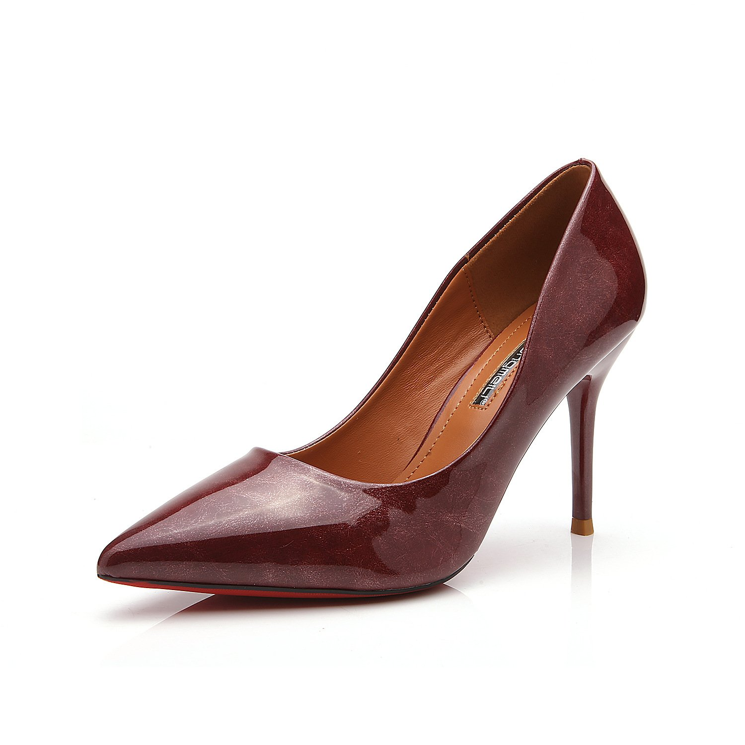 Fine with high heels pointed shoes retro marble texture fine and high-heel shoes single shoes women shoes, wine red,34