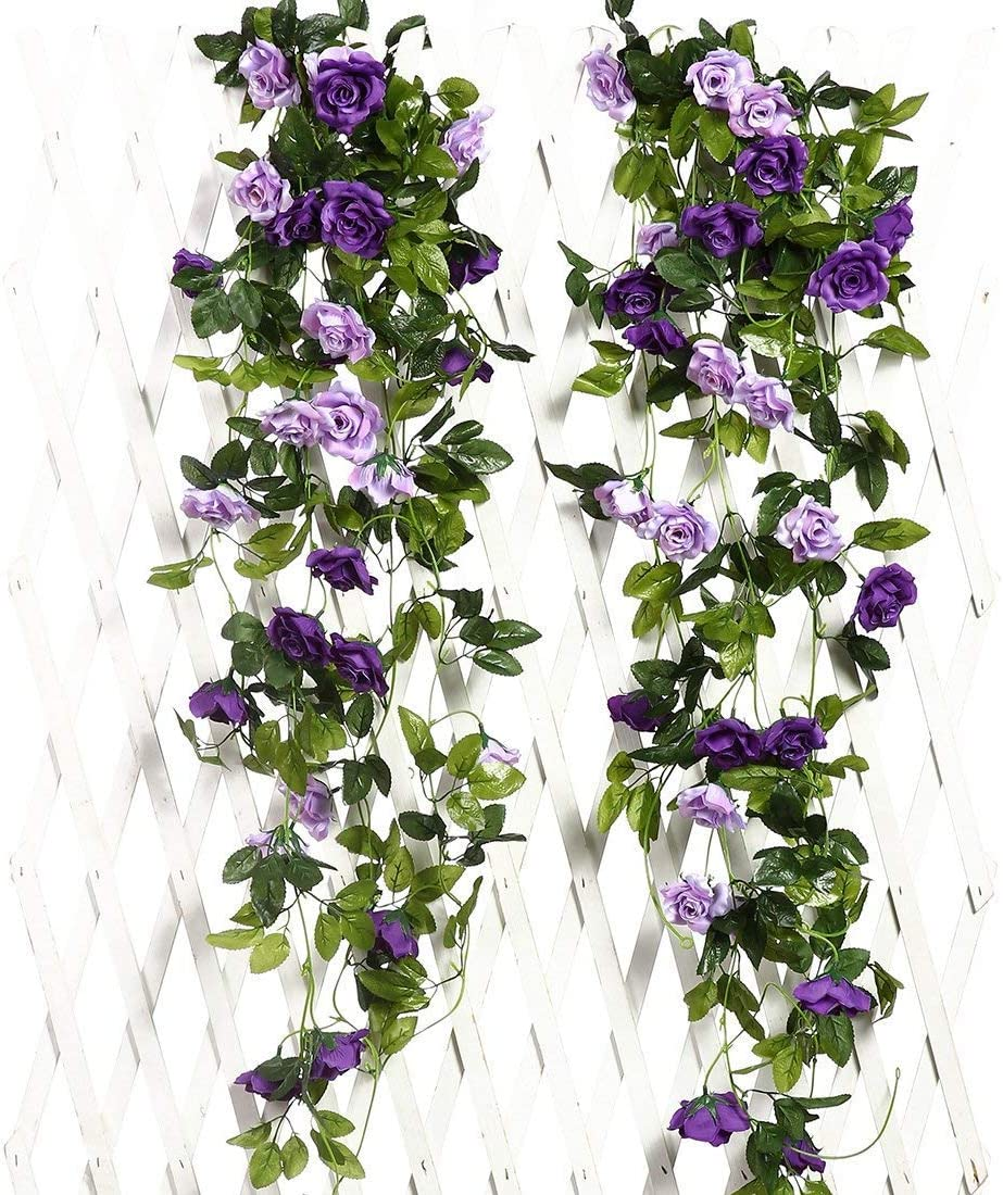 JUSTOYOU 2PCS Artificial Rose Vines Flowers Garland Hanging Silk Rose Vine Wedding Home Office Arch Arrangement Decoration 7.9FT(Purple)
