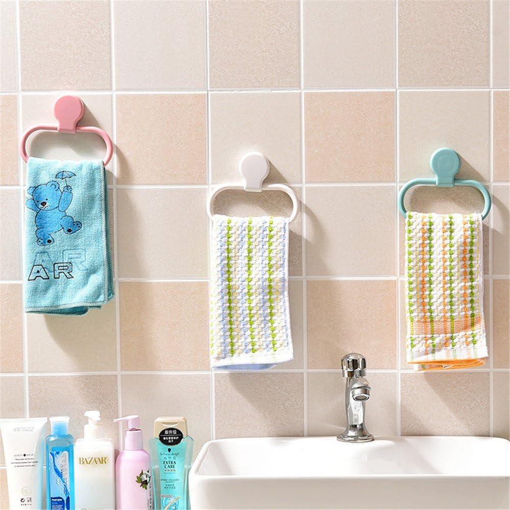 Unbekannt Badezimmer Handtuch Ring 360/Swing Kunststoff K/üche Rag Handtuchhalter Stick auf Wandhalterung Handtuchhalter Handtuch Rack ohne Bohren wei/ß