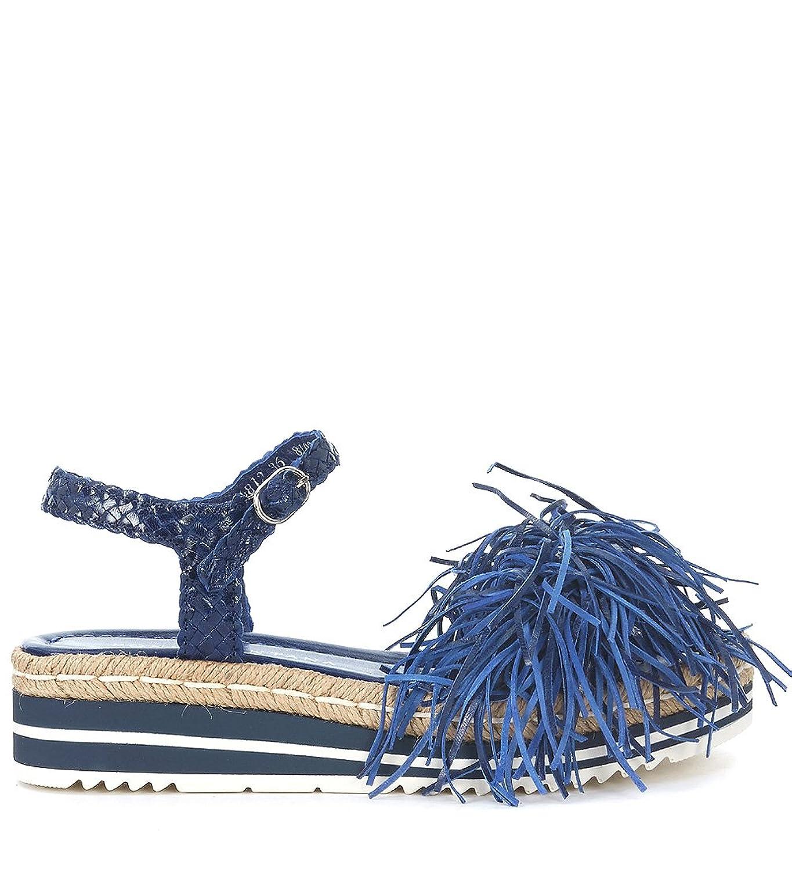 Pon´s Quintana Sandale  en cuir tressé bleu avec franges Bleu - Chaussures Sandale Femme