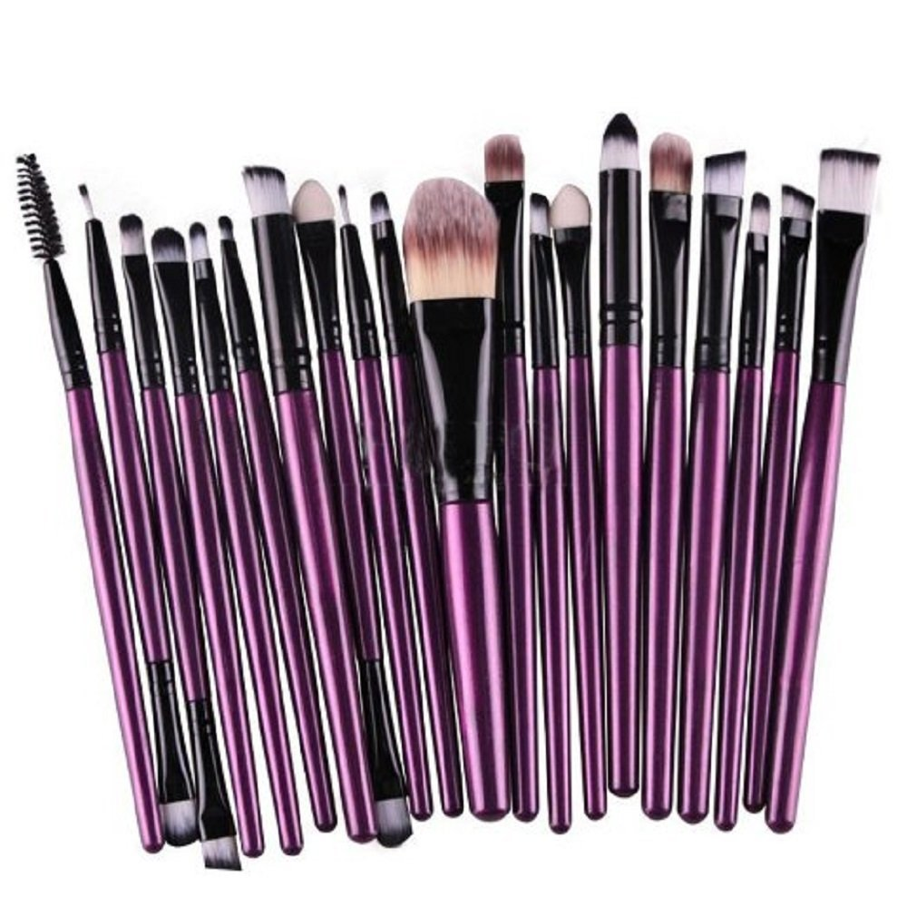 KOLIGHT® 20 Pcs Pro Makeup Set Powder Foundation Eyeshadow Eyeliner Lip Cosmetic Brushes (Black+Purple)