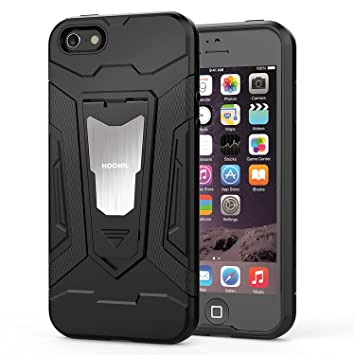 ec40b89910e HOOMIL Funda iPhone SE,Funda iPhone 5S Negro Armor Funda para Apple iPhone  SE/5S/5 Carcasa Shock-Absorción Silicona Case: Amazon.es: Electrónica