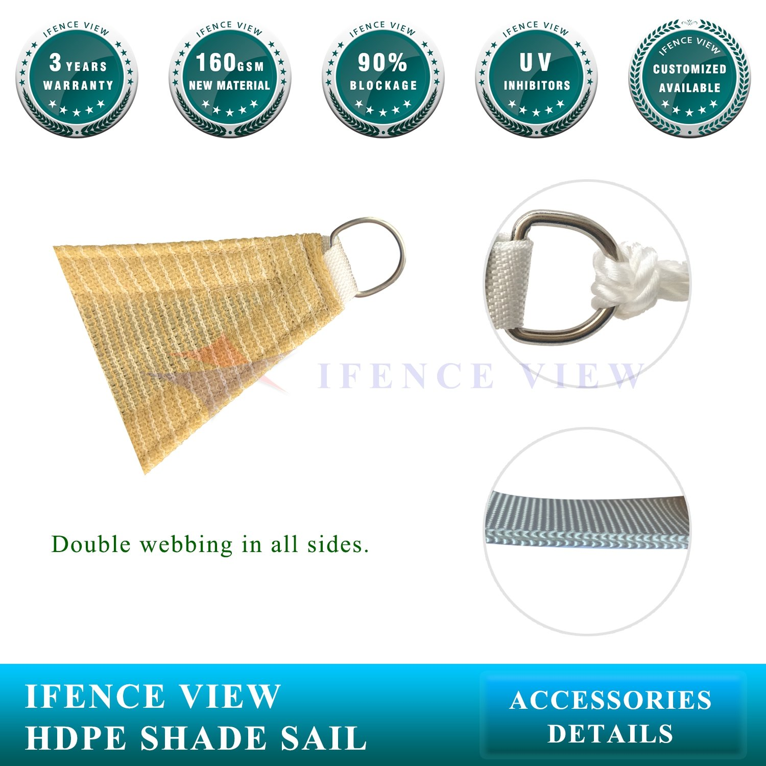 Ifenceview 6 x6 -6 x24 Rectangle UV Blocking Sun Shade Sail Canopy Awning for Patio Yard Garden Driveway Outdoor Facility 6 x 6 , Beige