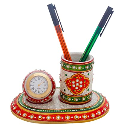 Meenakari Marble Pen Stand n Table Clock