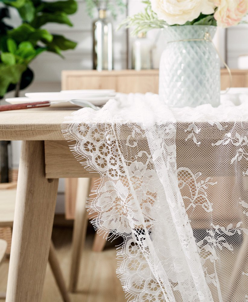 BOXAN 30x120 Inch White Classy Lace Table Runner/Overlay with Rose Vintage Embroidered, Rustic Boho Wedding Reception Table Decor, Fall Thanksgiving Christmas Baby & Bridal Shower Party Decoration by BOXAN (Image #5)