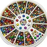Chic 2mm 3mm Colorful Nail Art Decoration Diamante Facet Rivets Metal Studs