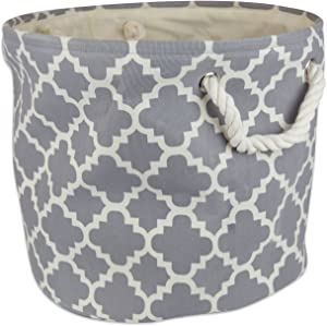 "DII Collapsible Polyester Storage Basket or Bin with Durable Cotton Handles, Home Organizer Solution for Office, Bedroom, Closet, Toys, Laundry (Medium Round – 12x15""), Gray Lattice"