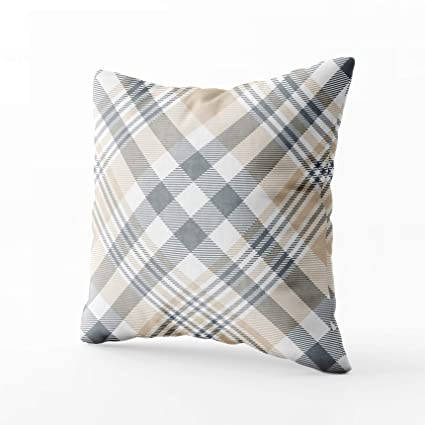 Magnificent Grootey Pillow Covers Square Pillow Covers With Zip Couch Sofa Decor Plaid Check Pattern In Beige Tan Grey White Fabric Texture Print 18X18 Throw Inzonedesignstudio Interior Chair Design Inzonedesignstudiocom